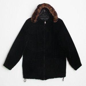 Ralph Lauren Velvet Faux Fur Hooded Jacket Black